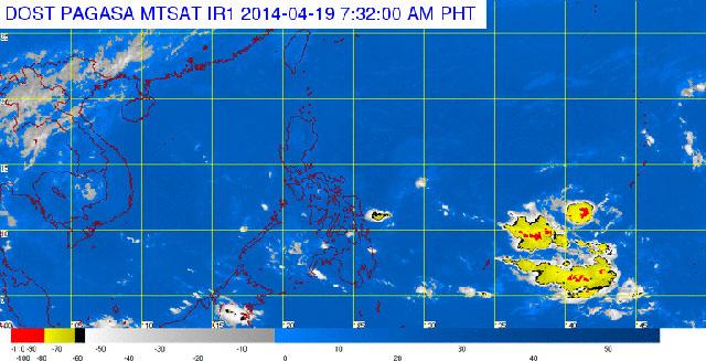 MTSAT ENHANCED IR satellite image, 7:32 am, April 19. Image courtesy of PAGASA