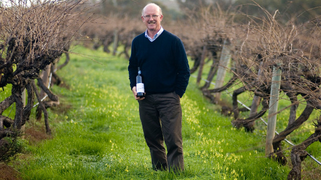'WINE HAS TO BE GOOD FOR YOU.' Bill Hardy at their Upper Tintara Vineyard in Australia