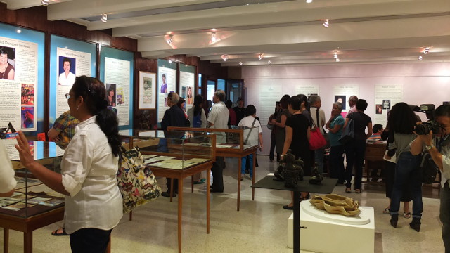 WRITINGS THROUGH THE YEARS. The exhibit after the talk featured writings, photos and memorabilia of the 18 honored women journalists